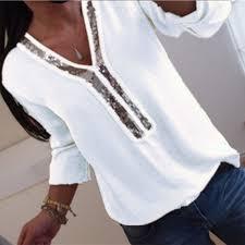 <b>Women Sexy V neck Sequins</b> Chiffon Blouse Shirt Spring Summer ...