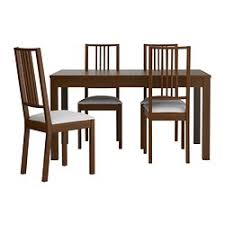 4 chair kitchen table: bjursta barje table and  chairs brown gobo white length