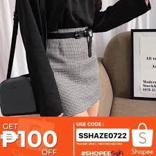 HazeShop   Stripes Gingham <b>Checkered Printed</b> Skirt - Shopee