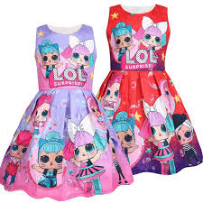 2019 2019 <b>Fashion</b> Lol Dress Cartoon <b>Print</b> Girl Tutu Dress ...