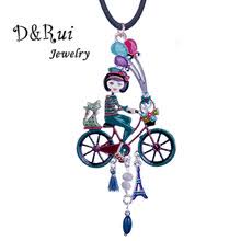 D&Rui Jewelry Holiday Girl Necklaces Creative Design <b>Enamel</b> Bike ...