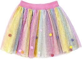 Girls Princess Rainbow Tulle <b>Sweet</b> Pompon <b>Tutu Skirt</b>