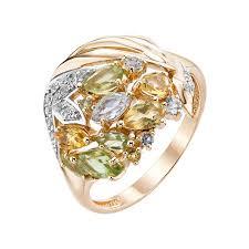 Золотое <b>кольцо с топазами</b>, <b>хризолитами</b>, цитринами и ...