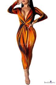 <b>Sexy</b> Plunge Neck Long Sleeve Tie Dye <b>Striped</b> Maxi <b>Orange</b> Pencil ...