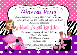 printable birthday invitations girls glamor beauty party girls printable birthday invites