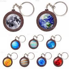 <b>Earth Jupiter Sun</b> Stars Planet Wooden Keychain Glass Cabochon ...