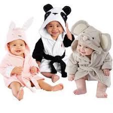 Boy Girl Animal Baby Bathrobe Baby Hooded Bath Towel ... - Vova