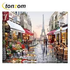 <b>RIHE</b> Paris Street Diy Painting By Numbers Shops <b>Oil</b> Painting ...