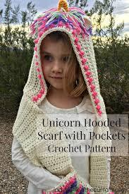 <b>Unicorn</b> Hooded Scarf with Pockets Crochet <b>Pattern</b>
