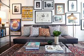 chic large wall decorations living room:  acrylic coffee table and smart couch instantly add style to the small space design