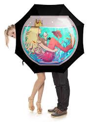 Зонт-трость с деревянной ручкой <b>Русалка</b> в аквариуме #2820995 ...