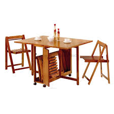 Folding Dining Room Table Modern Wooden Foldable Dining Table And Chairs Set For Small Home