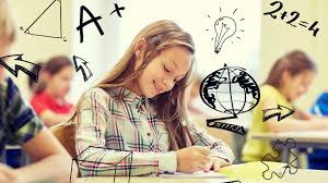 homework no proven benefits edutopia photo of a girl taking a test illustrations drawn on the photo