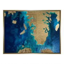 Gold Leaf Land And <b>Sea</b> Print Framed <b>Wall Art</b> | World Market