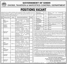new jobs in excise taxation and narcotics control department govt new jobs in excise taxation and narcotics control department govt of sindh