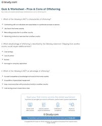 quiz worksheet pros cons of offshoring study com definition advantages disadvantages worksheet