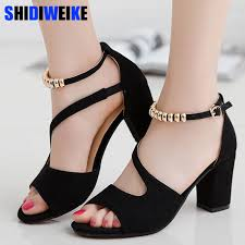 2019 spring summer sexy fish mouth <b>hollow Roman sandals</b> thick ...