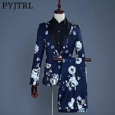 <b>2019</b> Tide Men <b>Navy Blue</b> Floral Print <b>Fashion</b> Casual Suits Latest ...