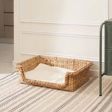 Vifah Kylie Hand-Woven Water Hyacinth <b>Cat House With Cushion</b> ...