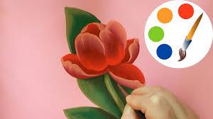 How to paint a <b>Tulip</b> , paint a <b>flower</b>, irishkalia - YouTube