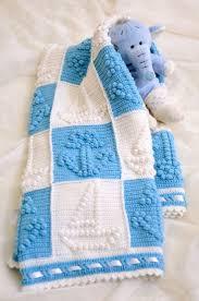 crochet baby boy blanket popcorn afghan blue white granny square ...