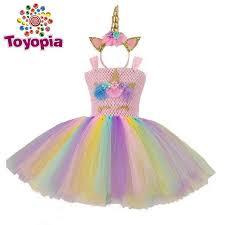 Rainbow <b>Unicorn Tutu Tulle</b> Dress with Hair Hoop Princess <b>Flower</b> ...