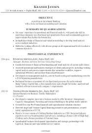 resume  investment banking  financial modeling and valuationexample resume investment banking financial modeling valuation