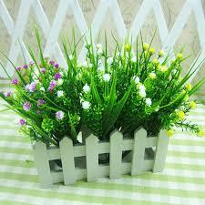 fashion home office desk party wedding decoration 1 bouquet 28cm floral artificial plants flowers gypsophila leaf artificial plants for office decor