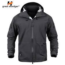 Men Tactical Waterproof jacket Hard Shell <b>Breathable</b> Outdoor ...