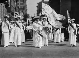w in white hillary clinton s suffragette tribute in the manhattan delegation on a w suffrage party parade through new york credit