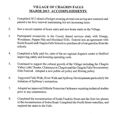 chagrin falls oh village of chagrin falls major vocf major accomplishments 2013