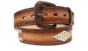 Modestone Horse <b>Floral</b> Embossed Leather Belt 1.5 Width 1/8 Thick ...