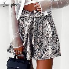 Simplee <b>Sexy snake</b> print shorts <b>women</b> Sash high elastic waist ...