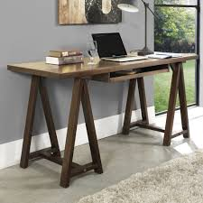 simpli home sawhorse office desk handcrafted with solid pine engineered wood protected with lacquer topcoat awesome pine desks home office