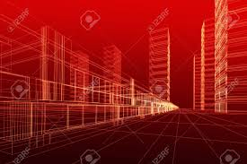 abstract 3d construction of office building red background concept modern city modern abstract 3d office building