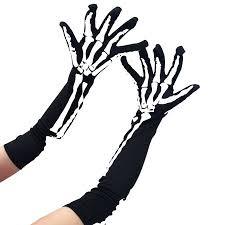 Aofa <b>Halloween</b> Horror Skeleton Claw <b>Skull Bone</b> Gloves Elbow ...