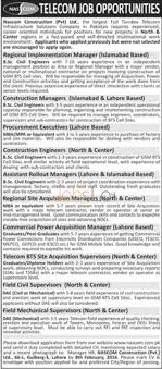 nascom construction company private limited company jobs in lahore apply online in nascom construction company private limited company 2016 lahore and islamabad