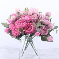 Silk <b>Rose</b> Peony Artificial Flowers Beautiful Flores Bouquet 5 <b>Big</b> ...