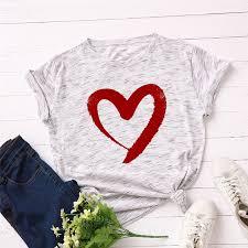 Online Shop <b>Plus Size S-5XL New</b> Heart Print T Shirt Women 100 ...