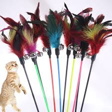 <b>1PCS</b> Hot Sale Cat Toys Make A Cat Stick <b>Feather</b> With Small Bell ...