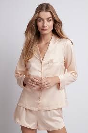 Toni <b>Long</b> Sleeve <b>Satin Womens Pyjamas</b> - Blush – Homebodii AU