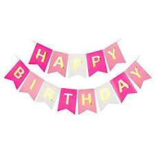 Opret <b>Happy Birthday Paper Banner</b>, Pink Lovely Bunting Banner for ...