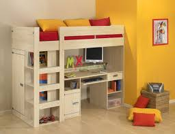 awesome adult loft beds with orange wall paint and light wooden flooring also wicker storage baskets childrens bunk bed desk full