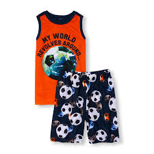 boys sleepwear the children s place off boys sleeveless my world revolves around top and soccer ball print shorts