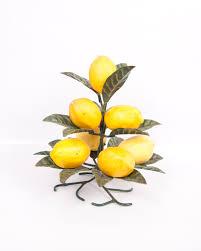 Lemon And Lime Kitchen Decor Vintage Lemon Tree Metal Lemon Holder Green Leaves Yellow Plastic