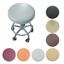 Set of 2 <b>Faux</b> Leather Round <b>Bar Stool</b> Seat Cushions Chair Covers ...