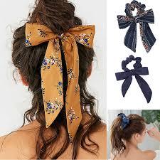 Korea Style Bohemian <b>Scrunchie</b> Print Chiffon Ribbon <b>Women</b> ...