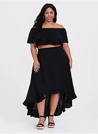 <b>Black</b> Challis Off Shoulder & Ruffle Skirt <b>2</b>-<b>Piece</b> Set - Plus Size   Torrid