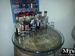 modern thirst bourbon barrel table project modernthirst authentic jim beam whiskey barrel table