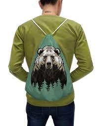 """Рюкзак-мешок с полной запечаткой """"<b>Сибирский</b> русский медведь ..."""